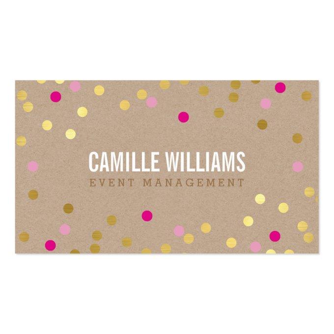 PLAIN BOLD MINIMAL confetti gold pink cute kraft Business Card