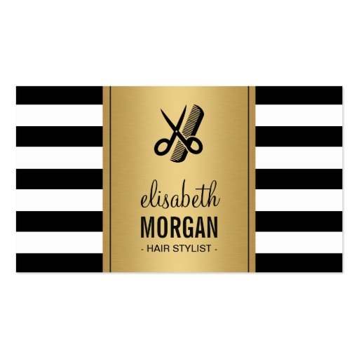 Hair Stylist Logo Elegant Gold Black White Stripes Double-Sided Standard Business Cards (Pack Of 100)