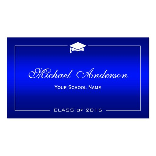 Graduation Name Card - Stylish Plain Blue Gradient Double-Sided Standard Business Cards (Pack Of 100)