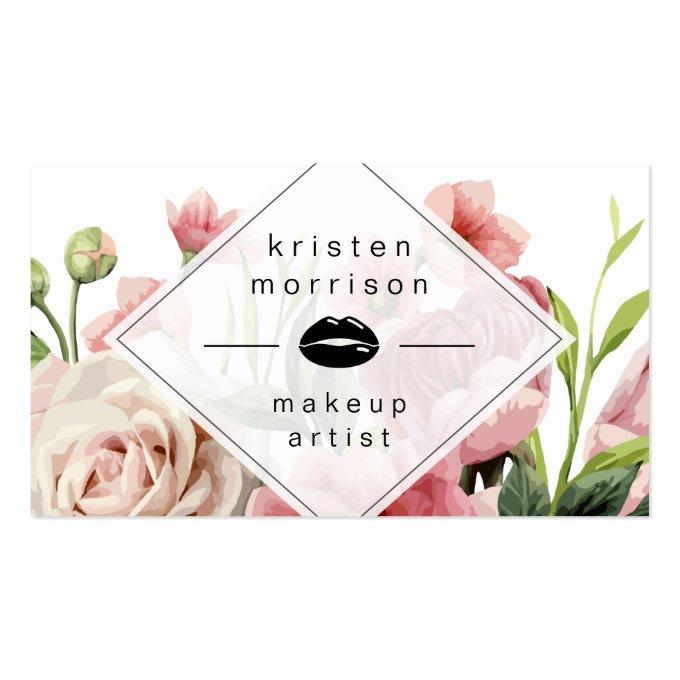 Makeup Artist Lips Modern Minimal Elegant Floral Business Card