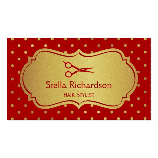 Hair Stylist - Eye Catching Hot Red Gold Dots Business Card (front side)