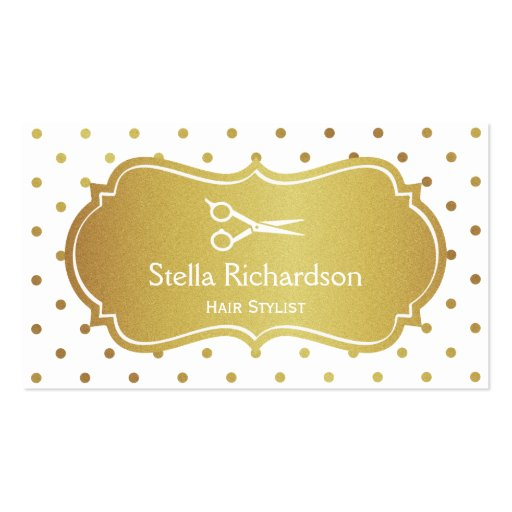 Hair Stylist - Chic White Gold Glitter Polka Dots Business Card Templates