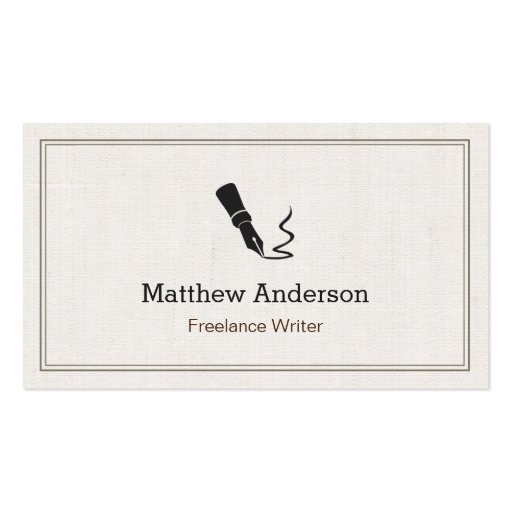 Professional Writer Editor Author - Beige Linen Business Card Templates
