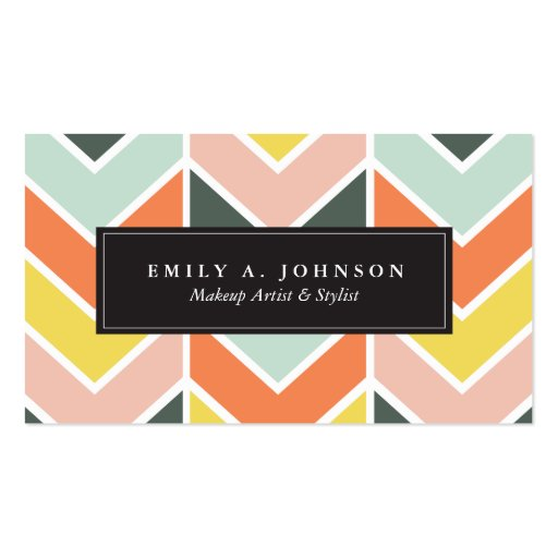 Personalized | Cheerful Chevron by Origami Prints Double-Sided Standard Business Cards (Pack Of 100)
