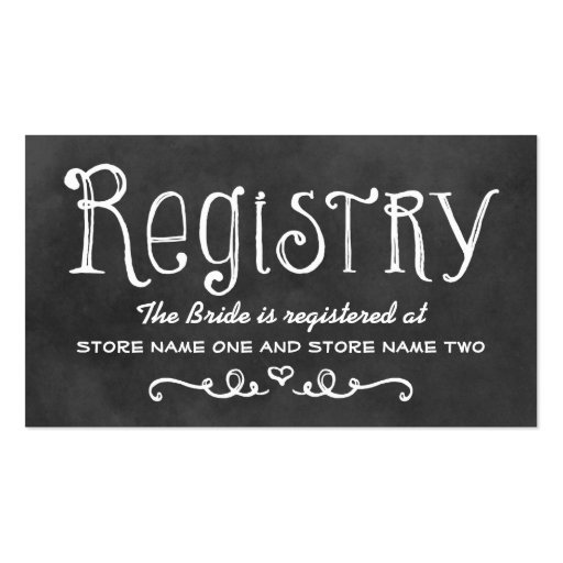 Bridal Registry Card | Black Chalkboard Charm Double-Sided Standard Business Cards (Pack Of 100)