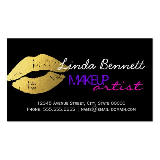 Makeup Artist - Sassy Gold Lips Dark Theme Style Double-Sided Standard Business Cards (Pack Of 100)