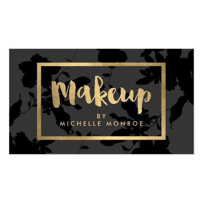 Elegant Gold Makeup Text on Dark Gray/Black Floral Business Card