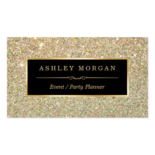 Wedding Event Planner - Sassy Beauty Gold Glitter Double-Sided Standard Business Cards (Pack Of 100) (front side)