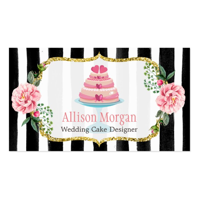 Wedding Cake Design Gold Pink Floral Striped Business Card (front side)
