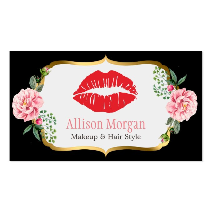 Black Gold Red Lips Flowers Makeup Artist Beauty Business Card