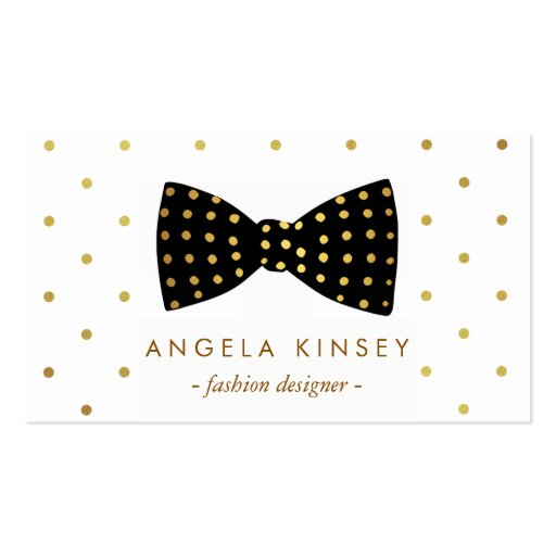 Cute Gold Polka Dots Ribbon Bow Business Card Template