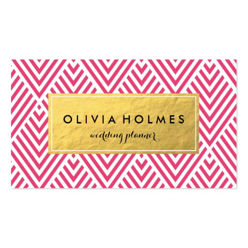 Pink & Gold Chevron Pattern Business Card