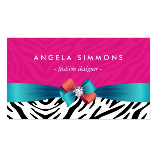 Fashion Stylist - Classy Zebra Print Ribbon Bow Double-Sided Standard Business Cards (Pack Of 100) (front side)