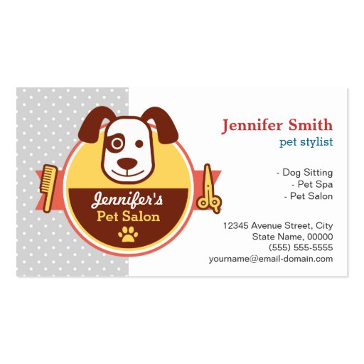 Dog Spa Salon - Appointment Card Business Card Template (front side)
