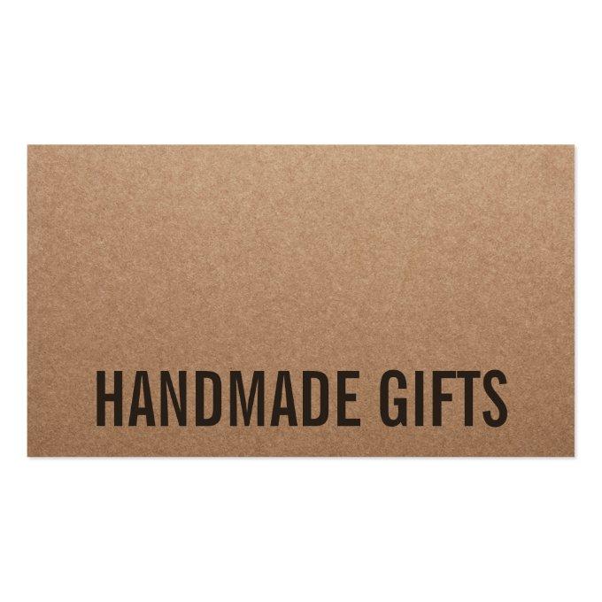 Rustic modern brown kraft paper handmade cardboard business card