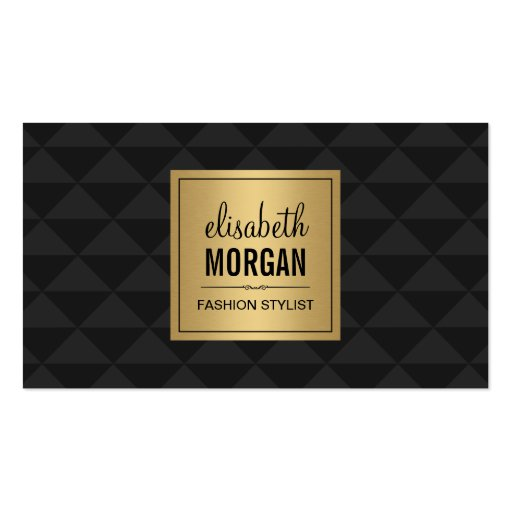 Abstract Diamond Style - Elegant Luxury Black Gold Double-Sided Standard Business Cards (Pack Of 100)