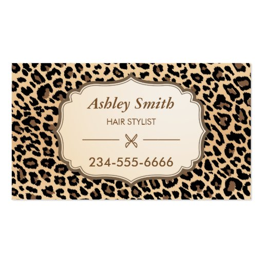 Classy Leopard Print Hair Stylist Appointment Card Business Card