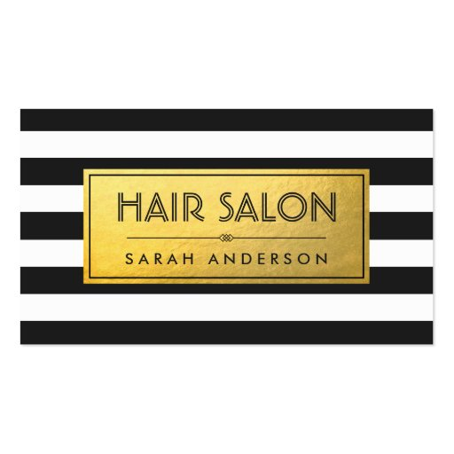 HAIR SALON - Gold Label and Black White Stripes Double-Sided Standard Business Cards (Pack Of 100)