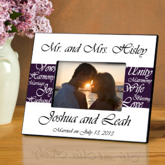 Plum Mr. and Mrs. Wedding Picture Frame