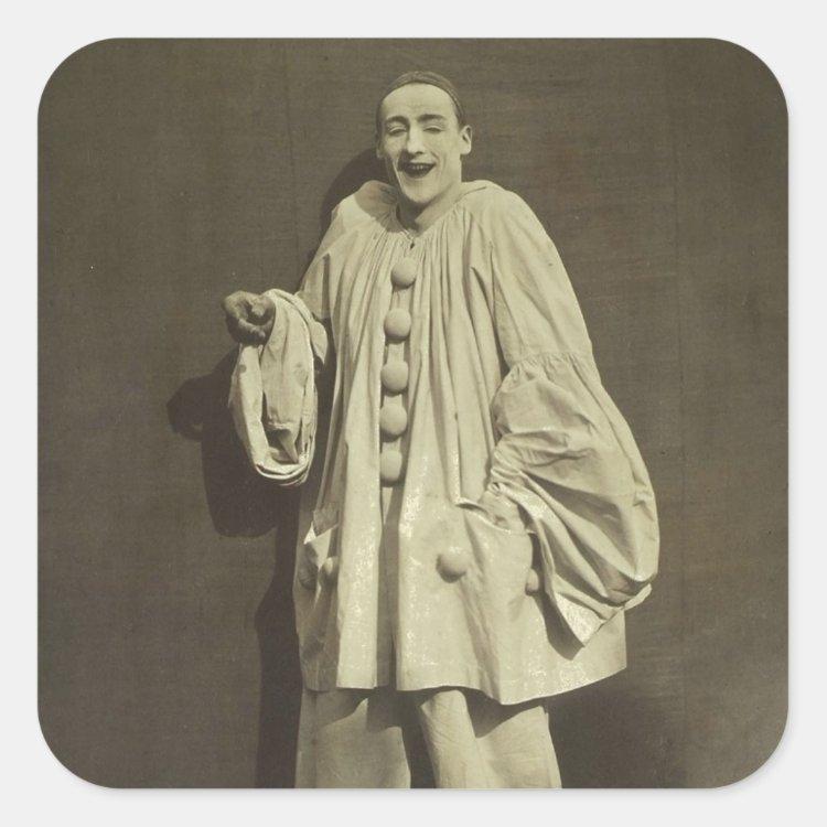 Vintage Pierrot Clown Square Sticker