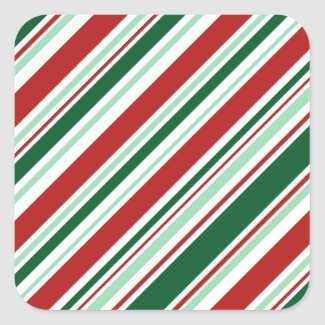 Diagonal Red, Green, White Candy Stripes Square Sticker