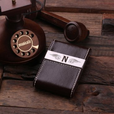 Brown Monogram Leather Business Card Holder