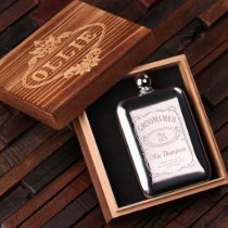 Gift Box & Engraved 6 oz. Stainless Steel Flask
