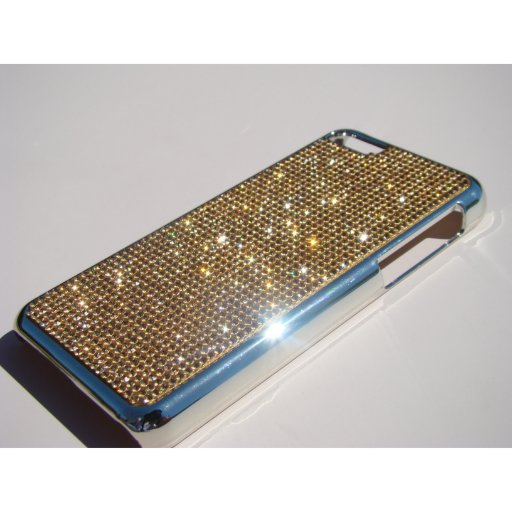 iPhone 5C Silver Chrome Case - Gold Topaz Crystals