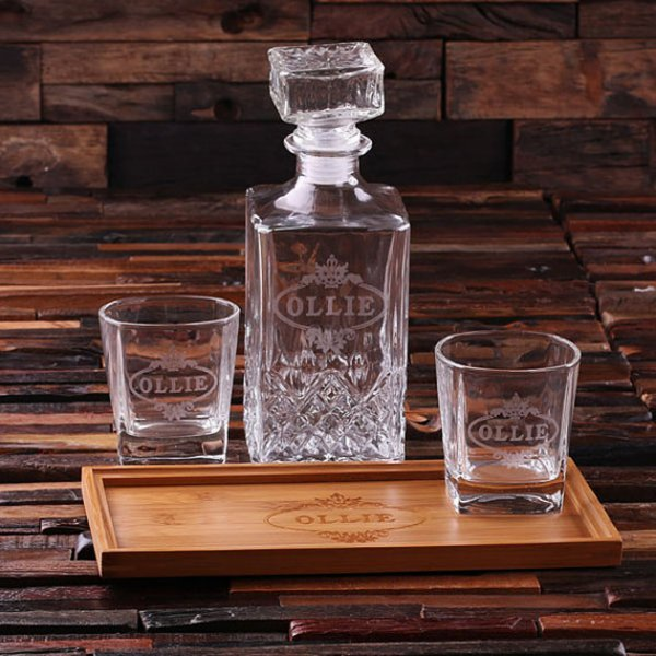 Personalized Tray, Decanter & 2 Whiskey Glasses