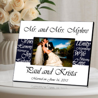 Navy Mr. and Mrs. Wedding Picture Frame