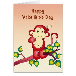 Red Monkey Animal Valentines Day Card