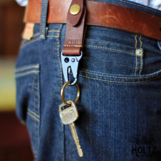 Henry Personalized Fine Brown Leather Keychain
