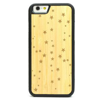 Caja de bambú grabada del iPhone 6 - estrellas el