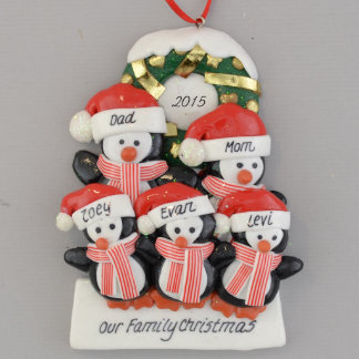 Personalized Penguins (5) with a Wreath Ornament