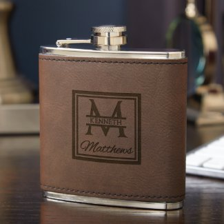 Oakhill Leatherette Wrapped Fitzgerald Hip Flask
