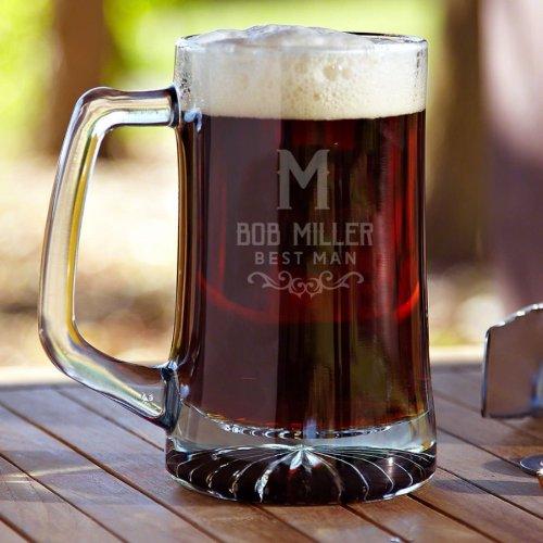 Stylish Warwick Etched 25 oz. Beer Mug