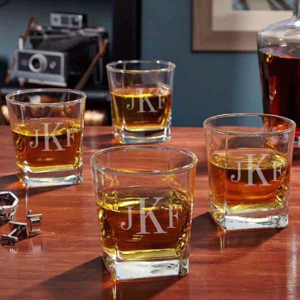Rutherford Monogrammed Whiskey Glasses Set of 4