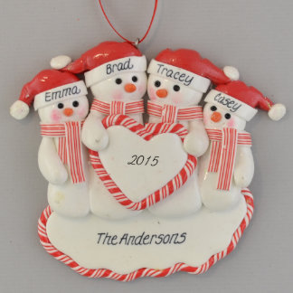 Family of Snowmen (4) Heart Personalized Ornament