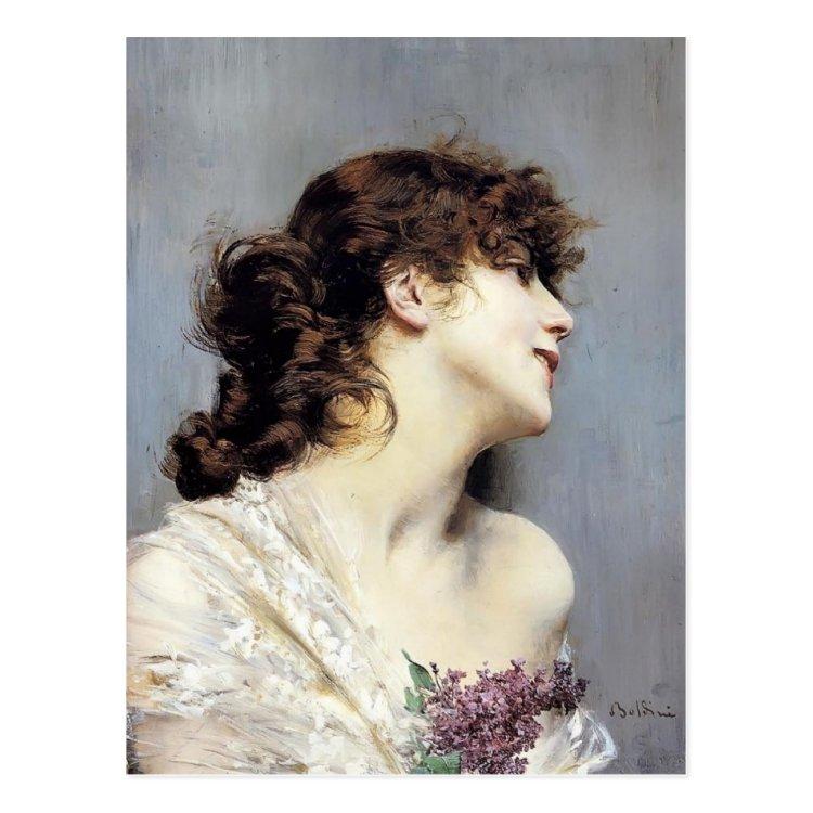 Profile of a Young Woman by Giovanni Boldini Postcard