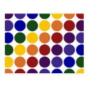 Rainbow Polka Dots on White Postcard