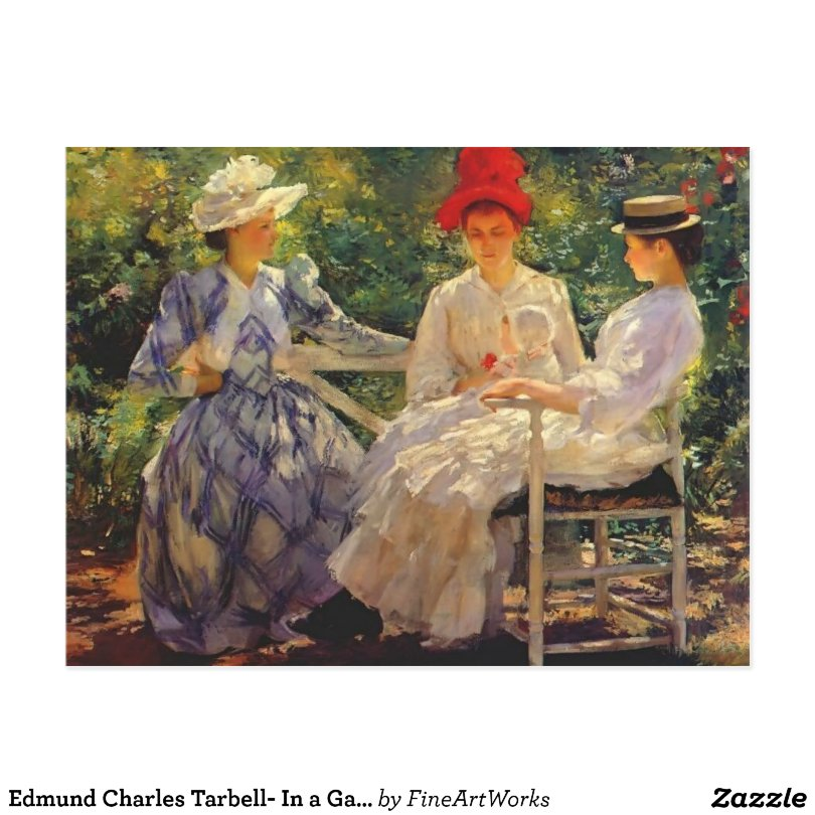 Edmund Charles Tarbell- In a Garden Postcard