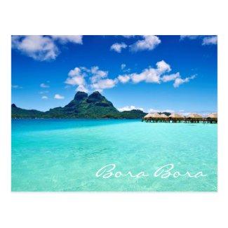Blue lagoon to Mt Otemanu Bora Bora Postcard