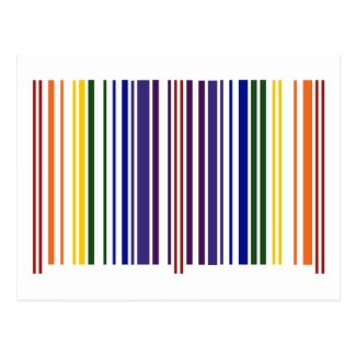 Double Rainbow Barcode Postcard