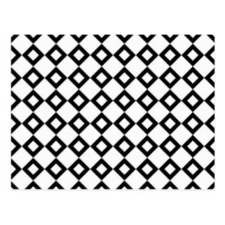 White and Black Diamond Pattern Postcard