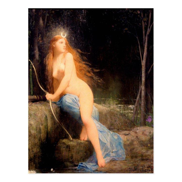 Diana - famous vintage painting - Lefebvre Postcard