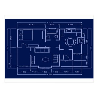 blueprint - house plan postcard
