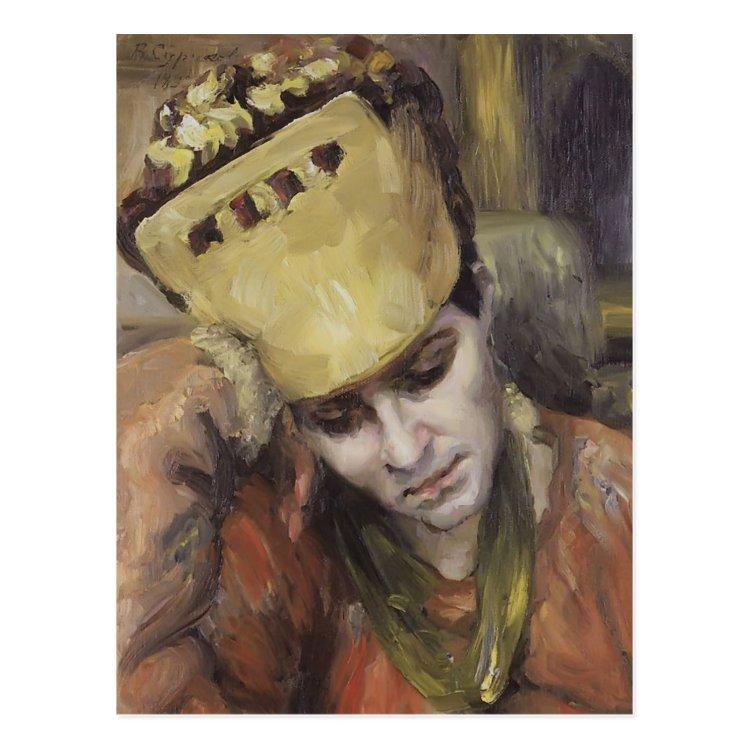 Vasily Surikov- Portrait of woman with kokoshnik Postcard