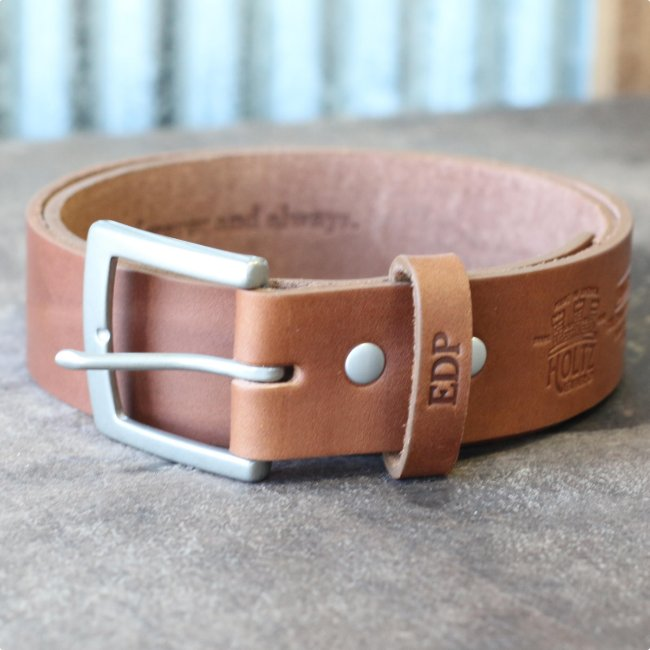 Engraved Brown Leather with Square Buckle Belt