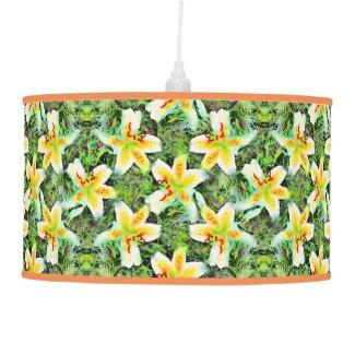 Watercolor White Lilies Green Leaf Aloha Botanical Ceiling Lamp
