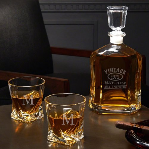 Aged To Perfection Twist Set Glasses With Decanter